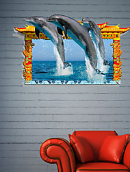 Adesivos de parede adesivos de parede 3d, parede golfinho banheiro decoração mural pvc adesivos