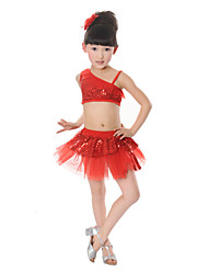 Latin Dance Performance Outfits Children's Performance Polyester/Tulle Sweet Outfit(More Colors) Kids Dance Costumes