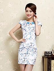 Women's Bodycon/Print/Party/Work Short Sleeve Dresses (Cotton Blend)