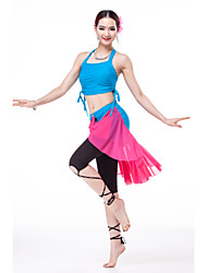 Outfits Women's Training Spandex/Tulle/Modal Draped 3 Pieces Apple Green/Fuchsia/Lake Blue