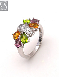 AS 925 Silver Jewelry  Elegant color stone ring