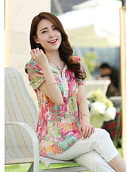 Women's Cute Summer Blouse,Floral V Neck Short Sleeve Blue / Red Thin