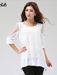 Women's Lace Gauze Half Sleeve Sweet Asymmetrical Chiffon Shirt Tops Blouse