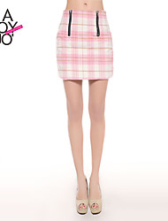 haoduoyi® Women's British Grid Slim OL Style One-step Skirt