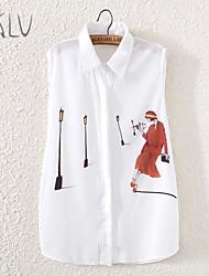 Women's Lapel Street Lady Print Sleeveless Chiffon Shirt Blouse