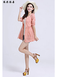 Women's Blue/Pink/Red/White/Yellow Trench Coat , Sexy/Beach/Casual/Print/Cute ½ Length Sleeve Others