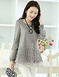 Women's Lovely Round Collar Lace Splicing Blouse