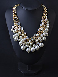 Shiny Pearl Statement Necklace for Party