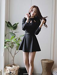 Vestidos ( Algodón Compuesto )- Casual Cuello alto Manga Larga para Mujer