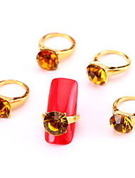 New 10PCS Fashion Yellow Nail Art Jewelry Pinkie Nail Tips Ring Alloy Rhinestone Aryclic Nail Tips Decorations