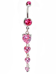 Fashion Stainless Steel Zircon Love Heart Navel Belly Button Ring Dancing Body Jewelry Piercing