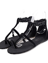 Women's Shoes Flat Heel Toe Ring Sandals Dress Black
