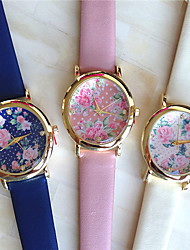 pu banda quartzo relógio analógico casual Geneve mulheres (cores sortidas)