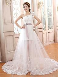 Sheath/Column Court Train Wedding Dress -One Shoulder Satin
