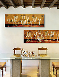 E-HOME® Stretched Canvas Art Glass Decorative Painting  Set of 2
