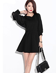 Women's   Lantern Sleeve Waist  Swing Umbrella  Dress