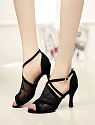 Zapatos de baile ( Negro ) - Danza latina/Dance Sneakers/Zapatillas de Deporte - Personalizados - Tacón de estilete