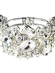 Vintage Luxurious Diamond Flower Silver Aolly Bracelet For Women Lades Bridal Birthday GIft Party Beach Wedding Dance