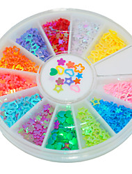 12 Color Mixed models Puppy Cute Love Pentacle Solid Laser Manicure Sequins Nail Art  Decoration kits