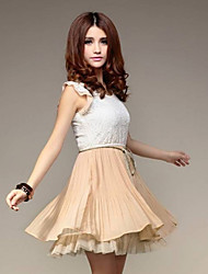 Hello Women's Chiffon Lace Temperament Sweet Slim Waisted Dress