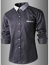 Men's Long Sleeve Shirt , Cotton Casual/Work/Formal Striped/Pure