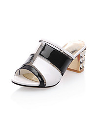 Women's Slippers & Flip-Flops Summer Comfort Patent Leather Dress Casual Party & Evening Chunky Heel Split Joint Black Peach Walking
