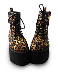Handmade Leopard 8cm Platform Gothic Lolita Shoes with