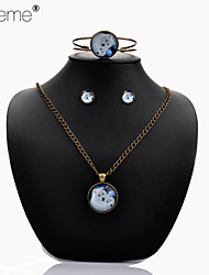 Lureme®  Simple Style Retro The White Wolf Mother And Son Time Gem Alloy Necklace Earrings Bracelet Suit