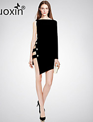 nuoxin® Women's One Shoulder Long Sleeve Cultivate One's Morality Stretch The Bandage Sexy Dress