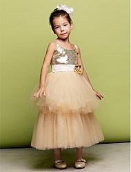 A-line Tea-length Flower Girl Dress - Tulle/Sequined Sleeveless