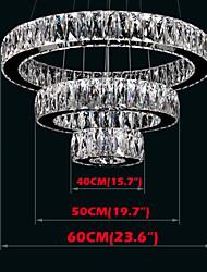 LED Crystal Chandelier Light Modern Lighting Three Rings D405060 K9 Large Crystal Hotel Ceiling Lights Fixtures
