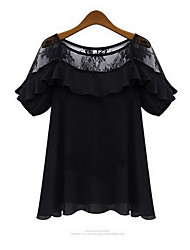 Women's Lace/Cute Round Short Sleeve Tops & Blouses (Lace)