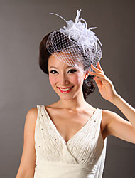 Women Feather/Tulle Fascinators/Flowers With Wedding/Party Headpiece