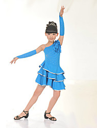 Latin Dance Performance Dresses Children's Performance Polyester Rhinestone Dress Black/Pink/Yellow/Blue Kids Dance Costumes