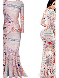 VICONE Women's Long Sleeve Sexy Bodycon OL Slim Long Dinner Dresses