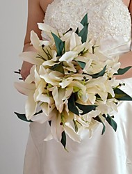 Wedding Flowers Bouquet 6 Flower Heads Each Bunch Ivory Purple Lily 2 Bunches/Lot for Wedding Decoration