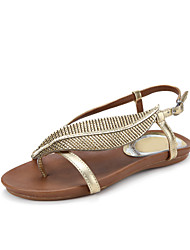 Women's Shoes Leather Flat Heel Slingback/Comfort Sandals Office & Career/Dress Silver/Gold