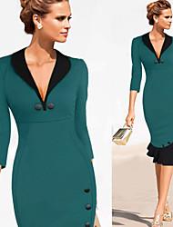 Belt Women's 3/4 Sleeve V-Neck Bodycon Evening Party Slim Dress/Dresses