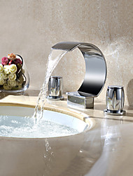 Contemporary Waterfall/Rotatable Brass Chrome Three Holes faucets