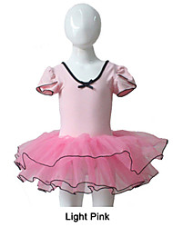 Pink Puffy Sleeve Leotard with Tutu for Ballet Dancing Performance for Ladies and Girls