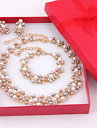 Hot Selling Women Costume Wedding Gold Plated Imitation Pearl Jewelry Sets