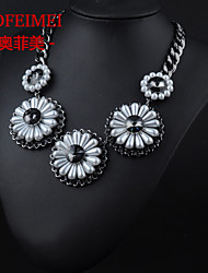 European and American jewelry items round gem pearl flower necklace necessary influx of women street shooting