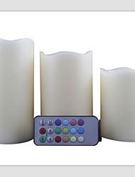 controle remoto levou quatro horas vela e 8 horas de temporizador opção de 12 cores de cera verdadeiro pilar velas