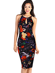 Women's Colorful Flower Floral Print Ladies Fitted Bodycon Cocktail Forma Dress
