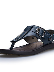 Men's Shoes Casual Leather Sandals Blue/Brown