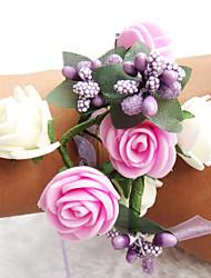 Petit bouquet de fleurs au poignet ( Fuchsia/Blanc/Pourpre , Polyester ) Roses