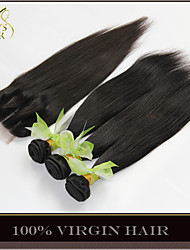 4Pcs Lot Brazilian Straight Virgin Hair With Closure 3 Bundles Unprocessed Brazilian Human Hair Weave With Lace Closures