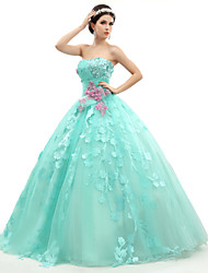 Formal Evening Dress - Lace-up Ball Gown Strapless Floor-length Organza Tulle Charmeuse withAppliques Beading Flower(s)