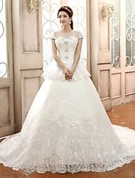 Ball Gown,Princess Chapel Train Wedding Dress -Scoop Satin