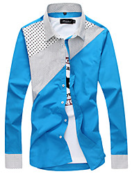 Men's Casual Polka Dot Slim Long Sleeved Shirt